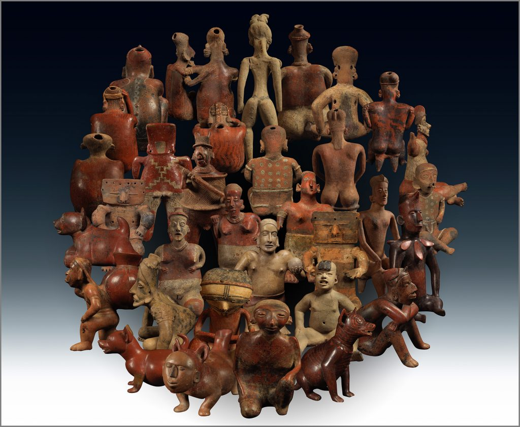 "Ken Gonzales-Day, ""Americas (Large constellation): Mexico (unless noted), ""Dog; Standing Dog; Dog with Human Mask; Baby Figure; Columbia, Figure with Ligatures on the Arms and Legs; Standing Female Figure; Standing Male Figure; Man Using Tumpline to Carry Vessel; Standing Couple, Male Figure; Seated Figure; Seated Female on Bench; Columbia, Hollow-slab Seated Female with Geom Designs; Seated Male Figure; Male Seated on Bench; Hunchback; Seated Couple; Joined Couple (all LACMA), 2019, 40 x 50 in., archival ink on Canson PhotoSatin paper. Courtesy of the artist and Luis De Jesus Los Angeles."